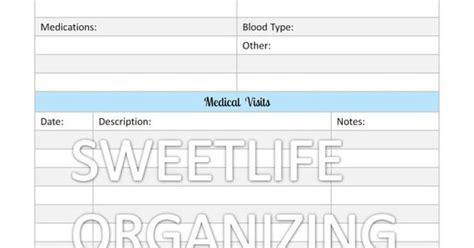 printable medical organizer medical records organizer home binder organizing
