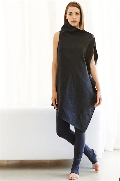 linen black dress asymmetrical black tunic oversized black top casual black dress by
