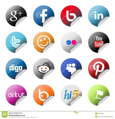 Social Network Finder Social Network Logo Stickers Set Editorial Image Image 28967900