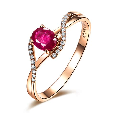rings for jewelry 0 5ct vbori 18k gold ruby gemstone ring for