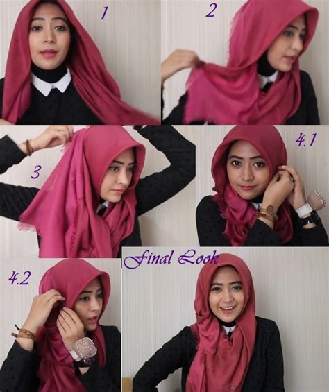 Model Kerudung Segi Empat Pin Tutorial Pashmina On