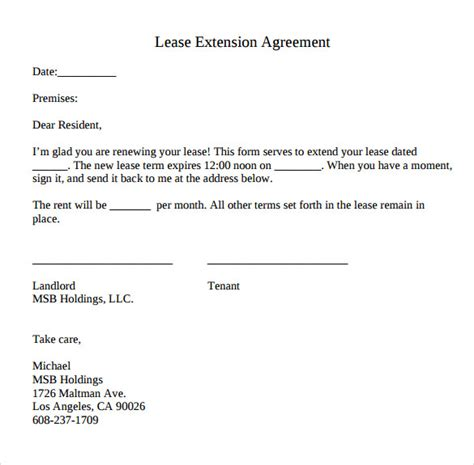 Extension Of Lease Agreement Letter Lease Extension Agreement 8 Sles Exles Format