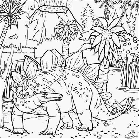 coloring page dinosaur scene free printable dinosaur habitat coloring pages for kids
