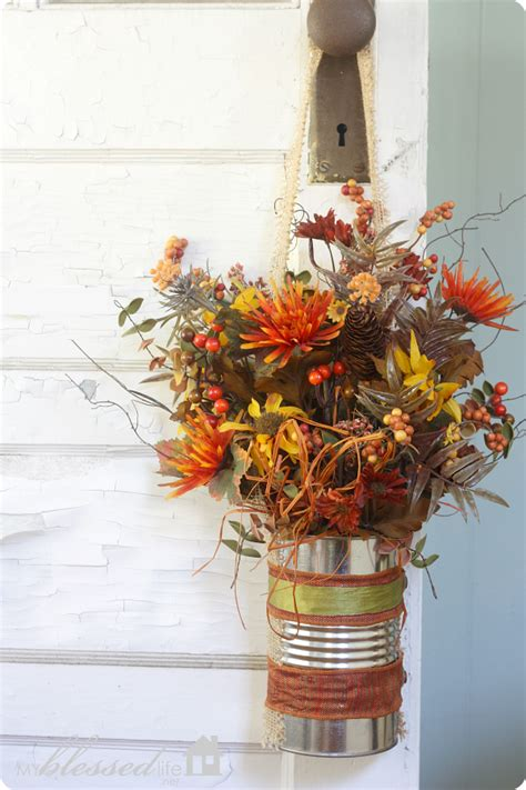 fall floral decorations easy fall flower can door decor