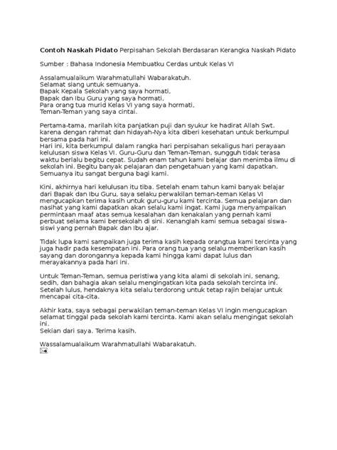 contoh naskah pidato perpisahan sekolah berdasaran