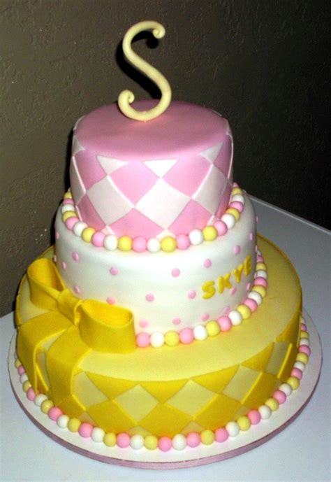 Pink And Yellow Baby Shower Cake by Pink White Yellow Babyshower Cake Cakecentral