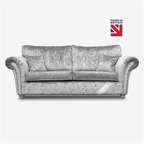 Silver Sofas by Kassel Silver Crushed Velvet Sofa Collection