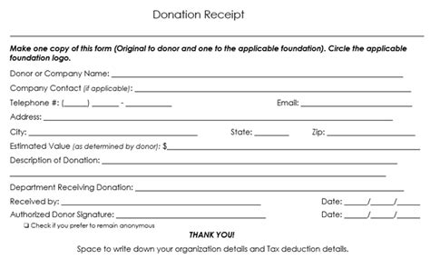 fundraiser receipt template donation receipt template 12 free sles in word and excel