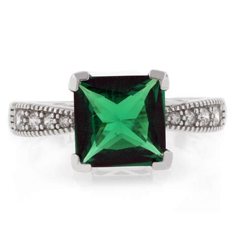 princess cut emerald ring silverbestbuy