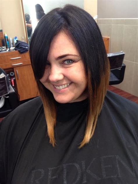 darl hair lob lob bob ombre short to long dark to light side bang