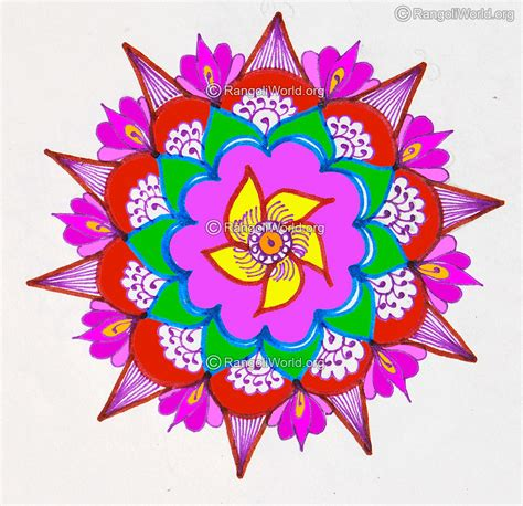 new year flower design pin freehand rangoli on