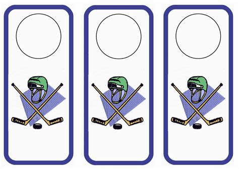 free printable hockey bookmarks hockey door hangers birthday printable