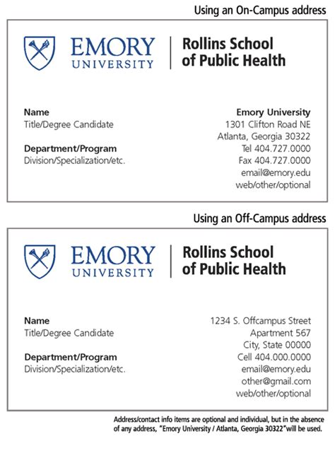 Emory Mba Career Report by Rollins School Of Health Business Cards