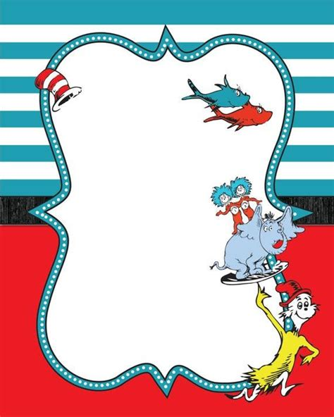 Dr Seuss Baby Shower Invitations Templates by Dr Seuss Border Guest Book Baby Shower Invitation