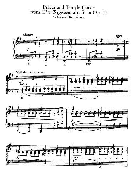 tutorial piano prayer in c olav trygvason prayer and temple dance piano sheet