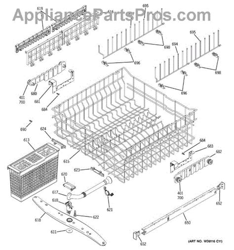 ge dishwasher diagram ge wd22x10046 middle spray arm assembly