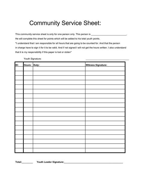 Community Service Hours Sheet Projects To Try Pinterest Community Service Community Template
