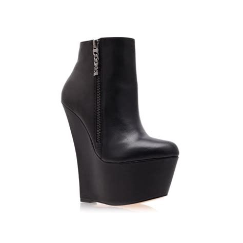 black high heel wedge boots carvela kurt geiger smirk ankle boots in black lyst