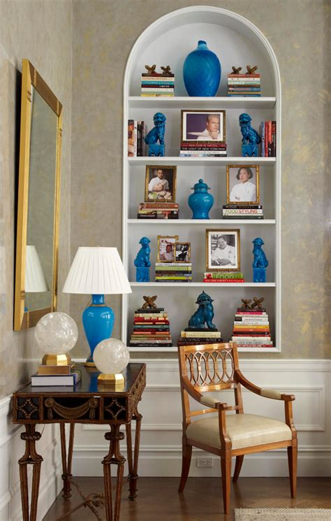 Small Living Room Decorating Ideas arrange shelves to showcase collections traditional home