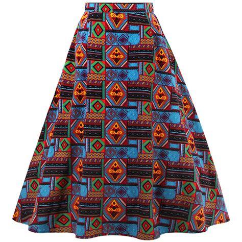 tribal print high waisted knee length midi skirt hg11886