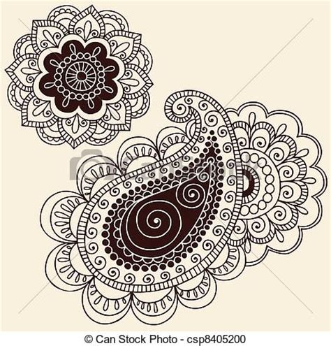 free doodle flower vector vector clipart of henna doodle flower and pailsey set