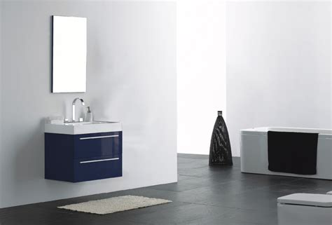 Modern Bathroom Vanity Toronto 27 Quot Wall Mounted Modern Bathroom Vanity In High Gloss Midnight Blue Modern Bathroom