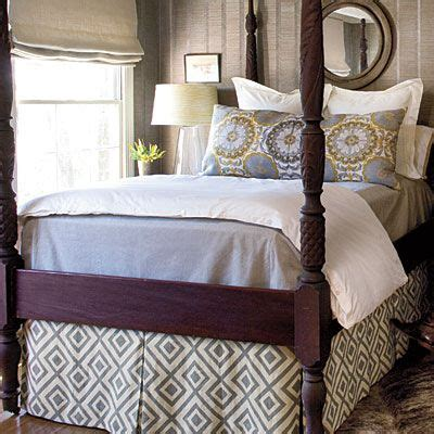 bed guest room redo grey skirts  poster beds