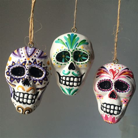 day of the dead hand painted sugar skull ornament by