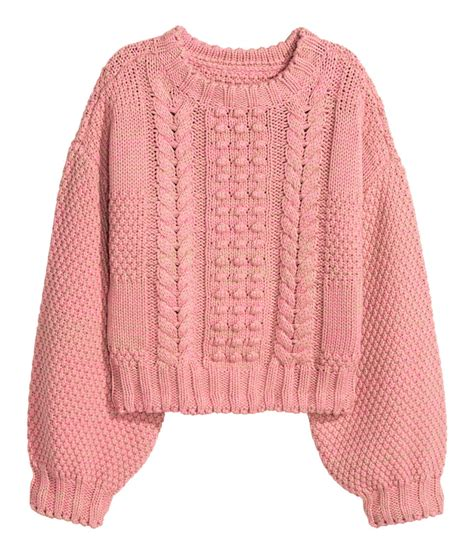 pink pattern cardigan short pattern knit sweater in a melange cotton blend with