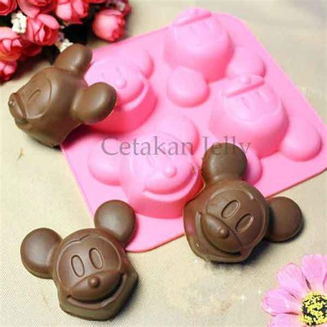 Cetakan Coklat Disney Mickey cetakan silikon puding kue mickey 4 cavity cetakan jelly cetakan jelly