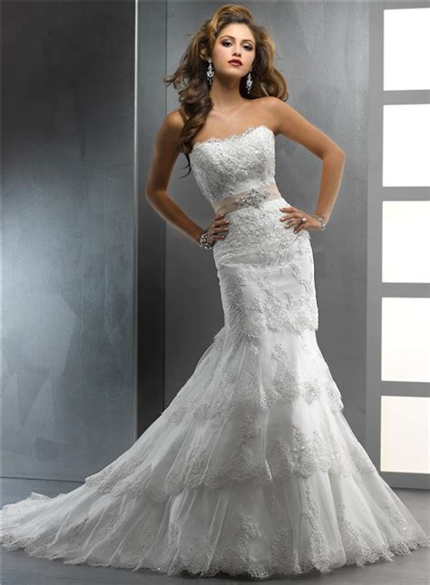 6 Gorgeous Strapless Wedding Gowns by Gorgeous Trumpet Mermaid Strapless Tiered Beaded Lace