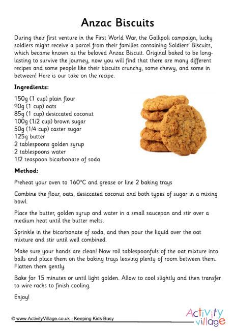 printable biscuit recipes anzac biscuits