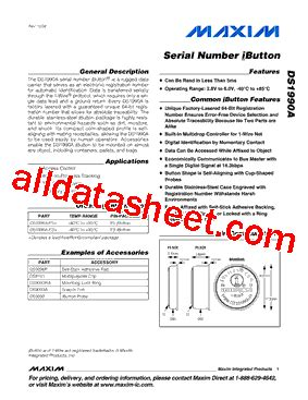 maxim integrated products ibutton ds1990a f5 データシート pdf maxim integrated products