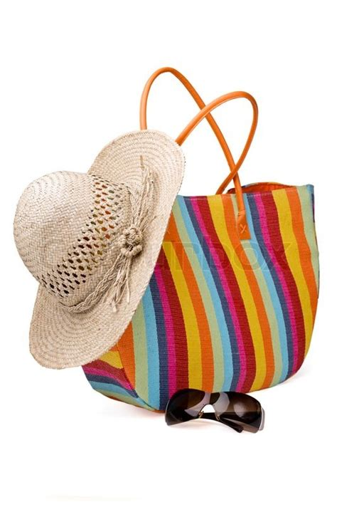 Tas Backpack Strawhat items colorful striped bag sunglasses and straw hat stock photo colourbox