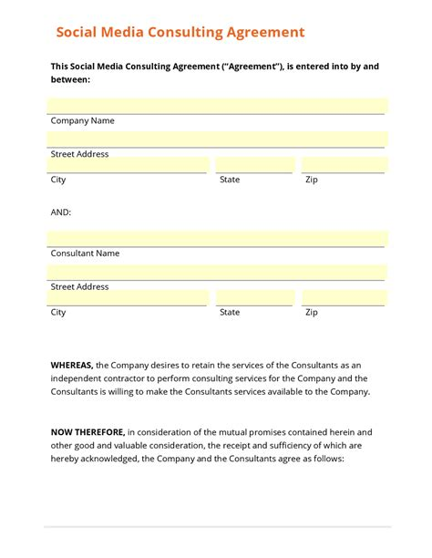 Contract Social Media Contract Template With Photos Social Media Contract Template Simple Social Media Policy Template