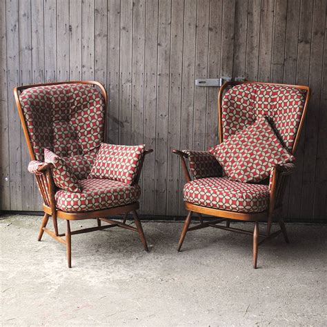 Vintage Armchairs by Pair Of Vintage Ercol Highback Armchairs By Iamia