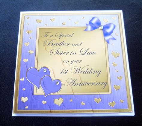 1st wedding anniversary gift for sister brother sister in law 1st wedding anniversary card 4