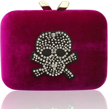 Anya Hindmarch Marlie Purse by Kotur Purple Marley Large Velvet Rhinestone Skull Clutch