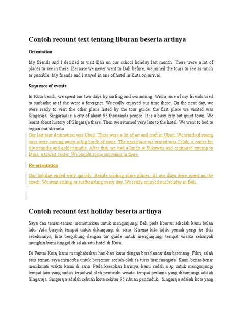 contoh recount text beserta artinya biografi recount text holiday pendek dan artinya sportstle com