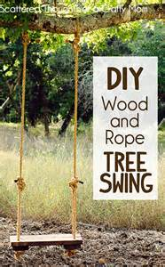how to make a rustic rope and wood tree swing backyards