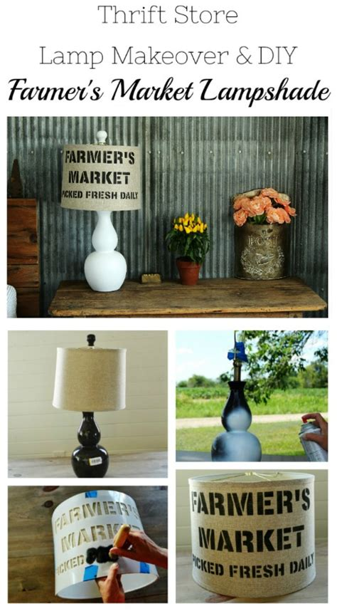 holiday shopping guide farmhouse style knick of time thrift store spray painted l makeover and diy stenciled
