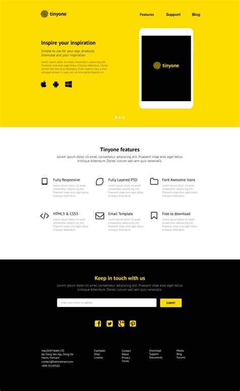 single page phlet templates tinyone psd one page template free