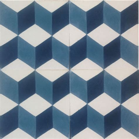 pattern geometric tile geometric 3d encaustic cement tile midnight blue