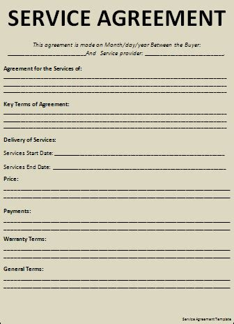 service agreement template word templates