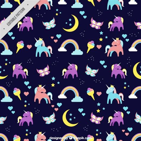 printable unicorn pattern coloured unicorns pattern vector free download