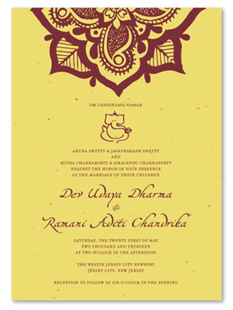 wedding invitations order from india indian wedding invitations on seeded paper henna flower