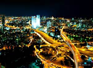 tel aviv azrieli center towers glowing in the lively nightlife