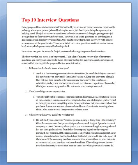 interview questions see once top 10 interview questions
