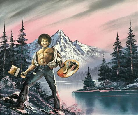 real bob ross painting for sale dave pollot paints your favorite characters into discarded