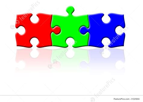 Pieces Of Three three puzzle pieces in rgb colors stock illustration